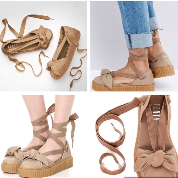 buy popular eb6d4 a2606 🔱 PUMA X FENTY Rihanna Bow Creeper Sandals NUDE NWT